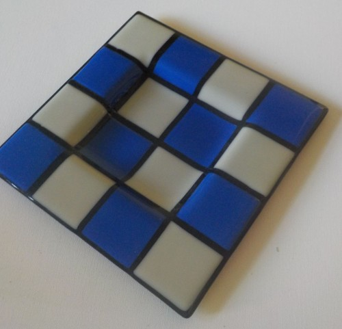 Blue & White Chequered Plate