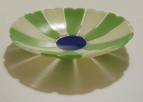 Cream & Green Serving Bowl